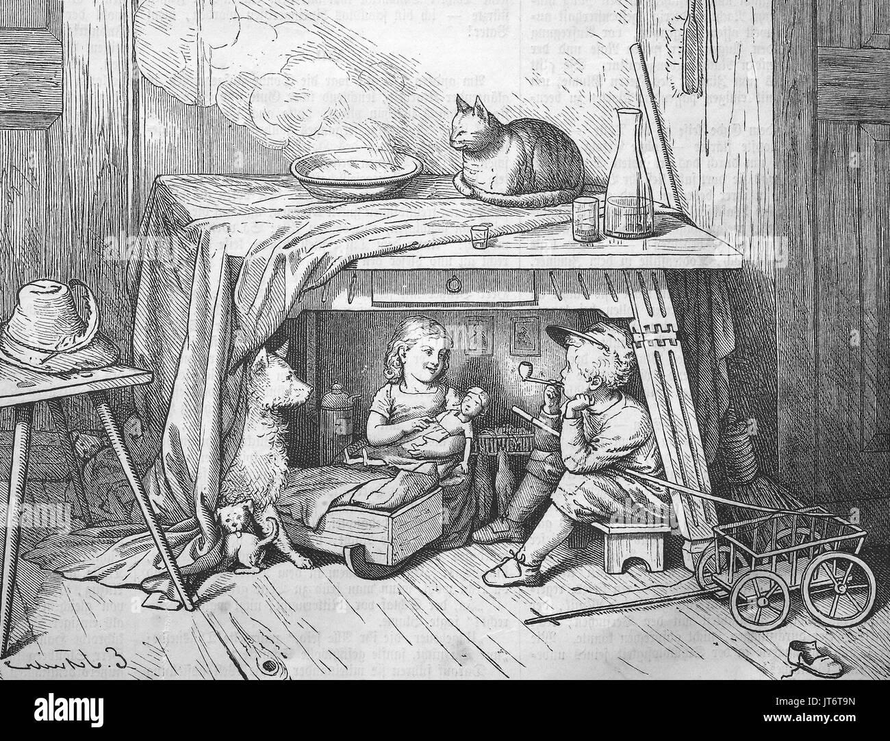 Junge raucht heimlich ein Rohr unter der Tabelle. Spielende Kinder Familie mit Puppe und Haustiere, Digital verbesserte Reproduktion eines Bildes zwischen 1880 - 1885 veröffentlicht. Stockbild
