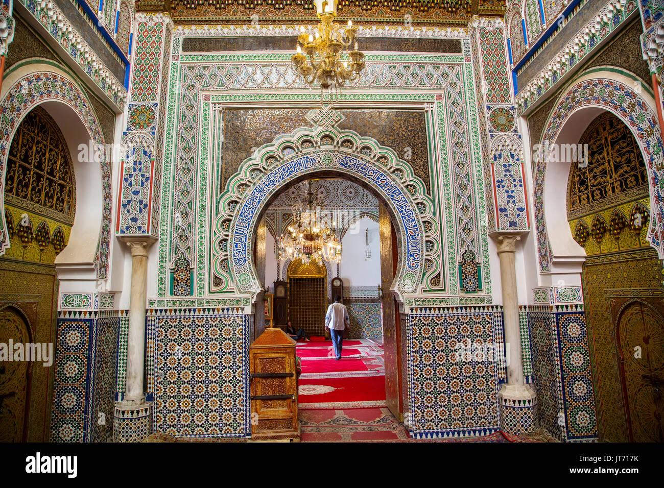 Moulay Idriss II.-Moschee. Souk Medina von Fes, Fes el Bali. Marokko, Maghreb Nordafrika Stockfoto