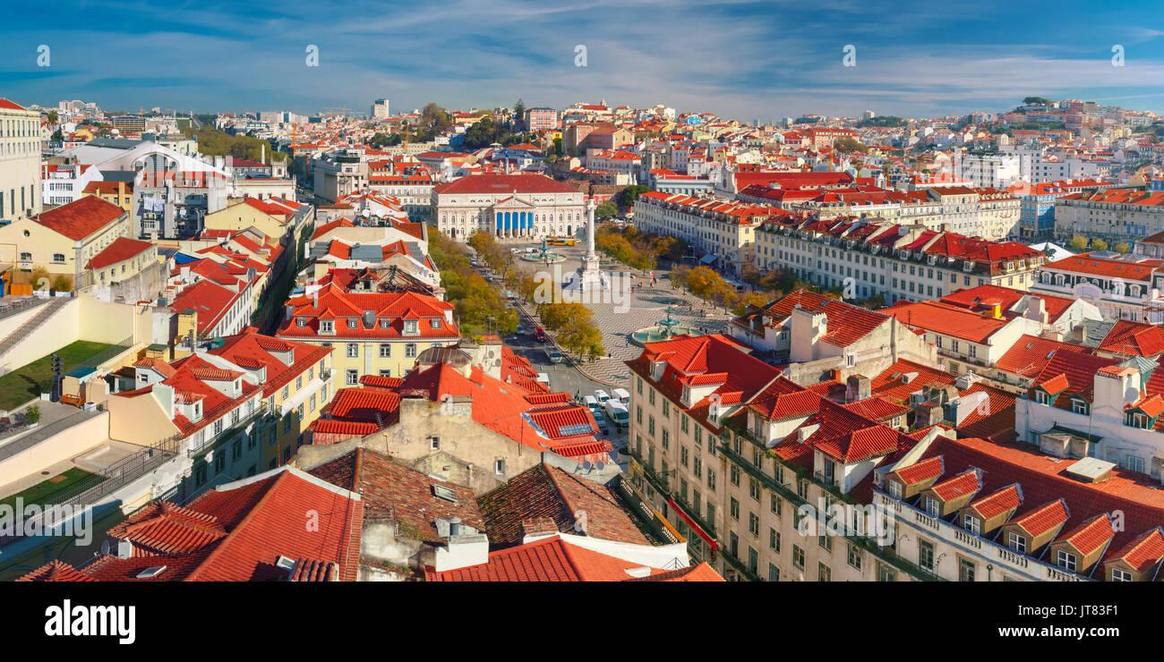 Rossio-platz mit gewellten Muster, Lissabon, Portugal Stockbild