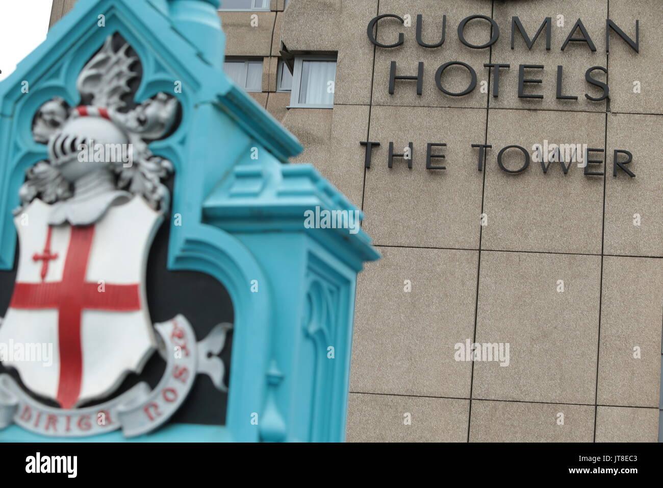London, Großbritannien. 08 Aug, 2017. Gouman Hotels der Turm von der IAAF bestätigt wurde, dass ein Erbrechen bug Ausbruch stattgefunden hatte, an der Guoman Tower Hotel in Central London, ist ein 12 Athleten gemeldet, krank waren im Hotel getroffen. Das Hotel hat verweigert Es ist Schuld. Das Hotel liegt an der Themse in der Nähe der berühmten Tower Bridge. Heute Bild. Credit: Nigel Bowles/Alamy leben Nachrichten Stockbild