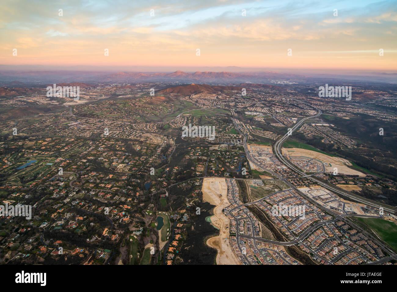 Antenne über Encinitas aus einem Heißluftballon, Kalifornien, Vereinigte Staaten von Amerika, Nordamerika Stockbild