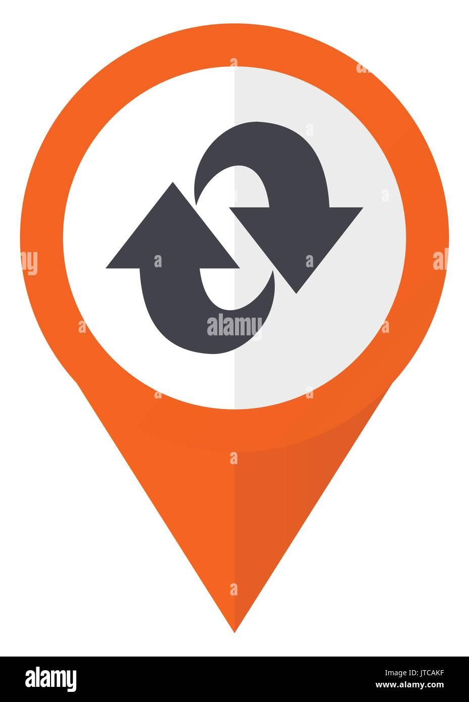 Rotation orange Zeiger vektor Icon in eps 10 auf weißem Hintergrund. Stockbild