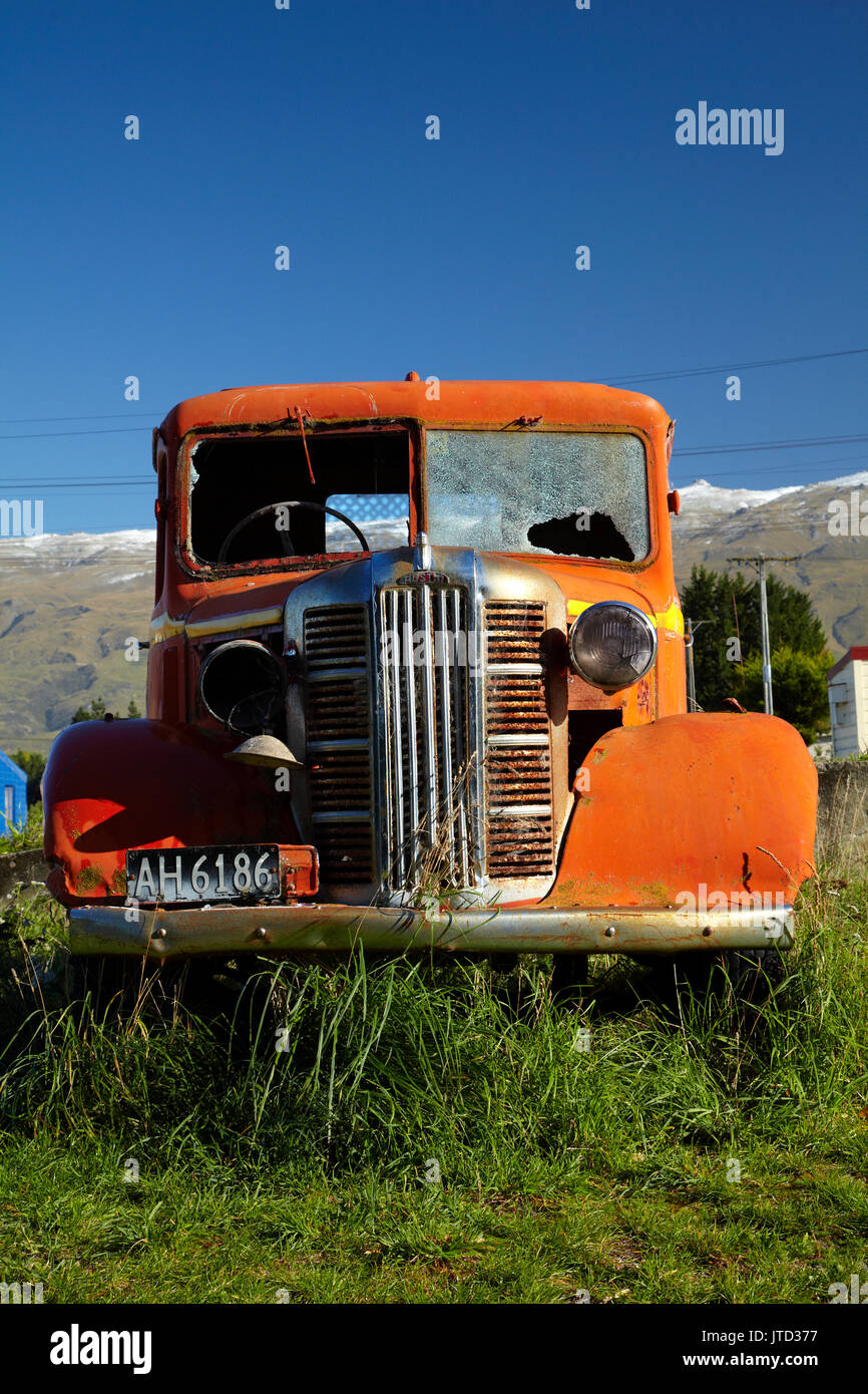 Vintage Austin Truck von middlemarch Bahnhof, Strath Taieri, Otago, Südinsel, Neuseeland Stockbild