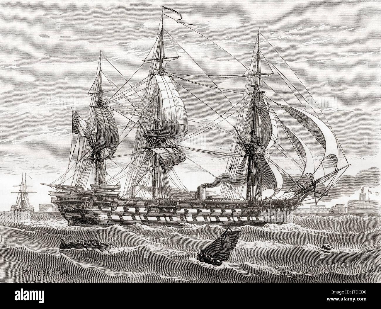 Napoléon, ein 90-Kanonen Schiff der Linie der Französischen Marine, der erste Zweck gebauten Dampf Schlachtschiff der Welt. Von Les merveilles de la Science, veröffentlicht 1870. Stockbild