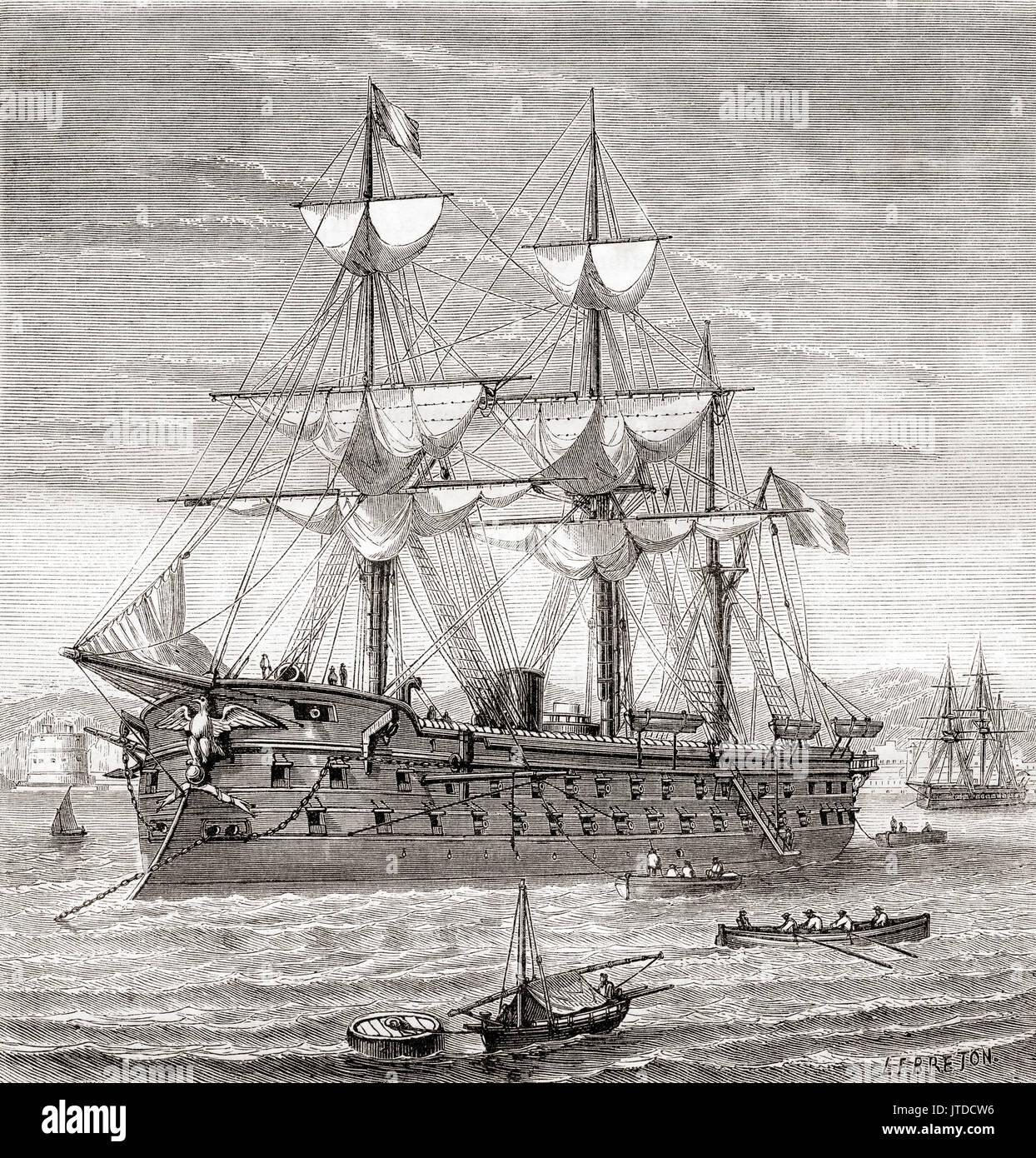 Die solférino, eine Breitseite gepanzerte Kriegsschiff der Französischen Marine, der im Jahre 1861 ins Leben gerufen. Von Les merveilles de la Science, veröffentlicht 1870. Stockbild