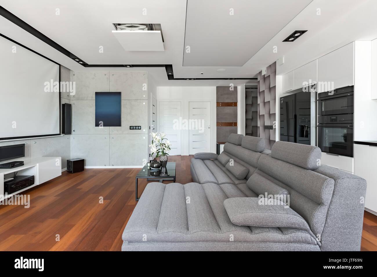 Wohnzimmer Mit Sofa Und Weiß Grau Offene Küche