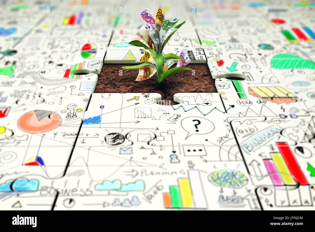 Pflanze mit Geld wächst aus einem fehlenden Stück puzzle Stockbild
