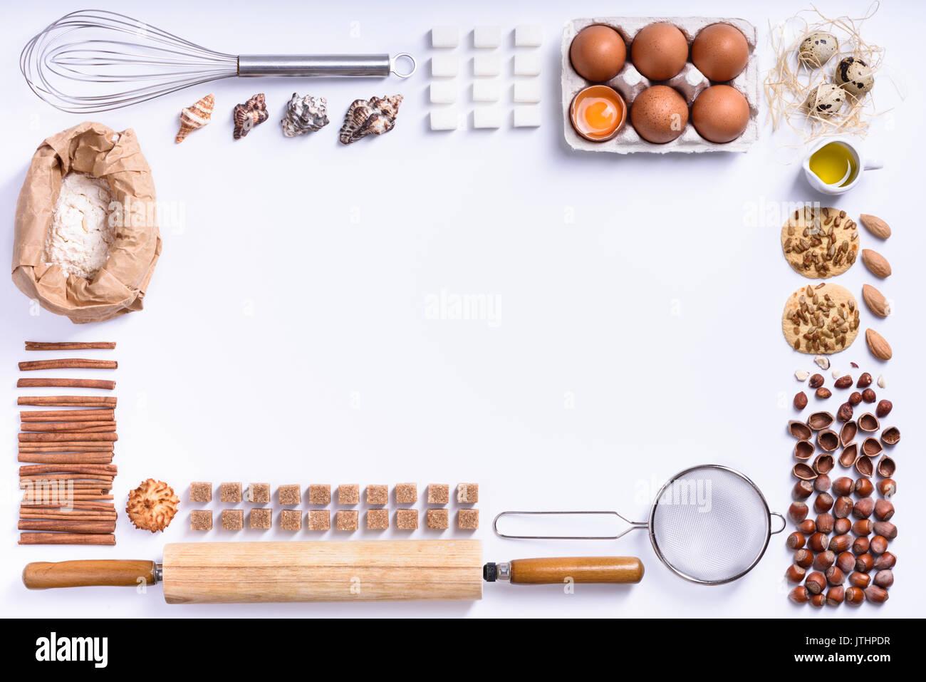 Backen Oder Kochen Hintergrund Rahmen Zutaten Kuchenutensilien Zum