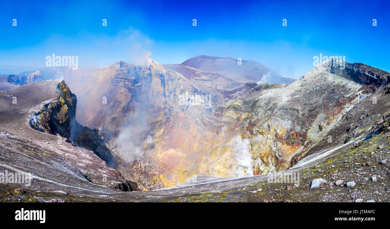 Ätna, Sizilien - der höchste aktive Vulkan Europas 3329 m in Italien. Stockbild