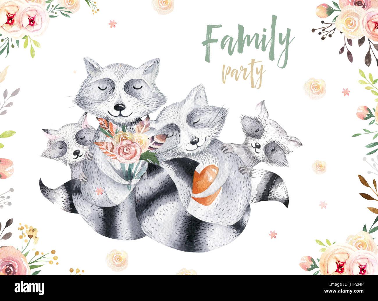 poster fur kinderzimmer, cute baby raccon baumschule tier isoliert abbildung: für kinder, Design ideen