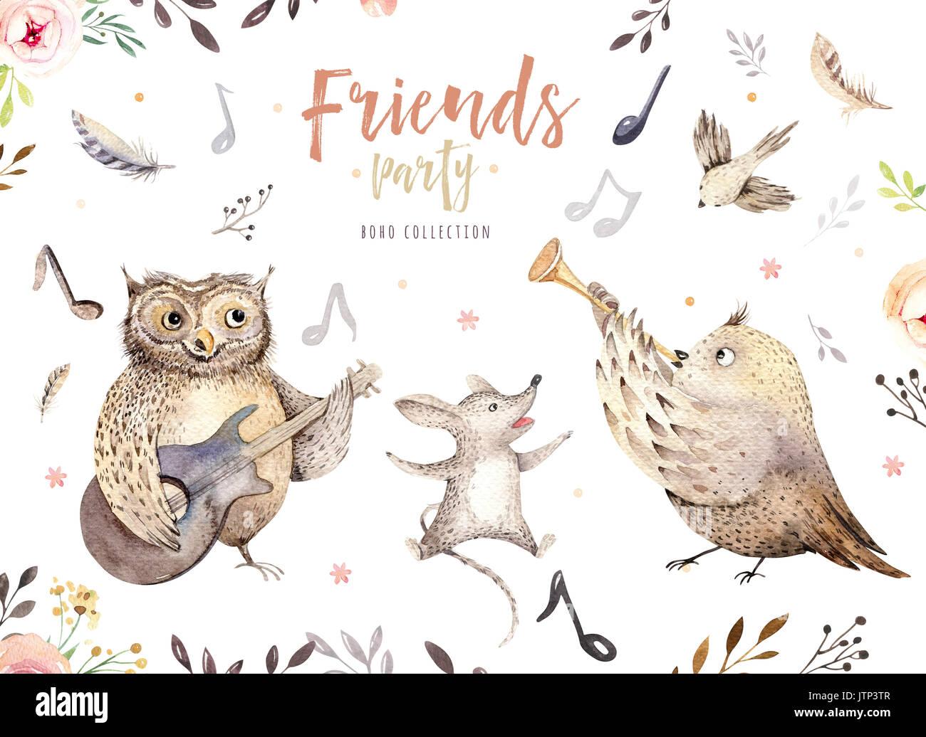 Hand Gezeichnet Aquarell Eule Maus Und Vogel Tanzen Tiere Boho Kinderzimmer Dekoration Illustrationen Musik Trendy Art Perfekt Fur Stoff Design