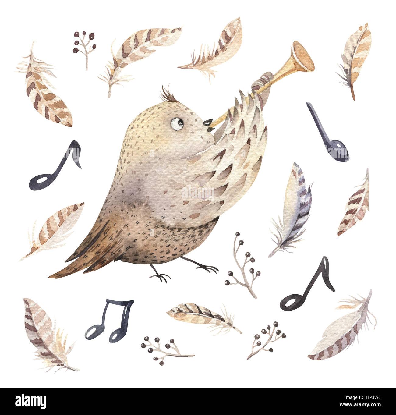 Hand Gezeichnet Aquarell Eule Maus Und Vogel Tanzen Tiere Boho Kinderzimmer Dekoration Illustrationen