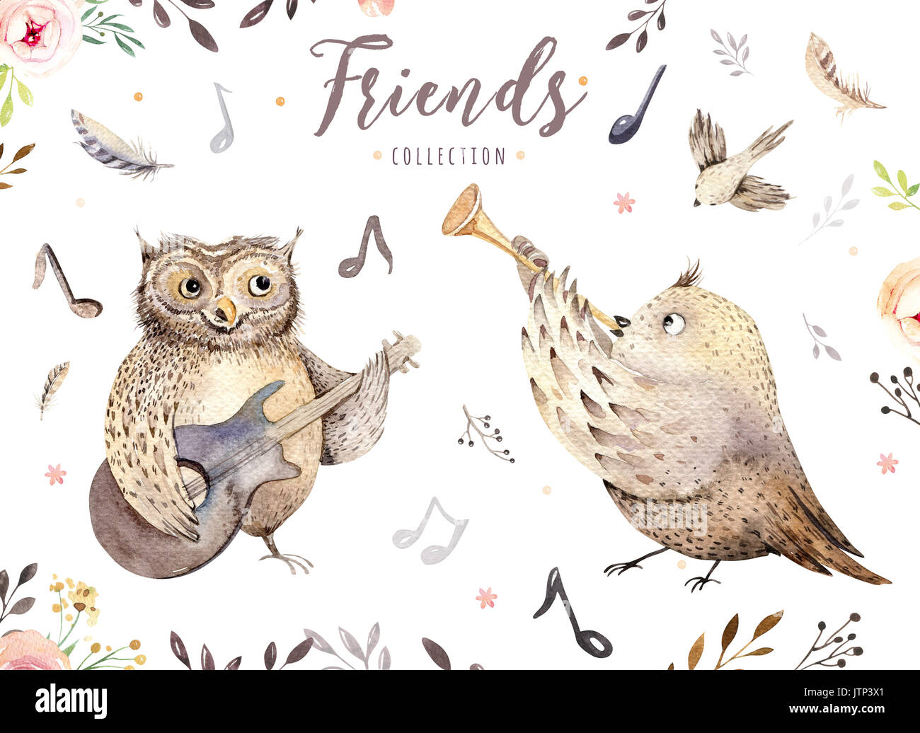 Hand Aquarell Eule Und Vogel Musik Tier Gezeichnet Boho Kinderzimmer Dekoration Abbildung Musikalische Trendy Art Perfekt Fur Stoff Design Gutar Feder