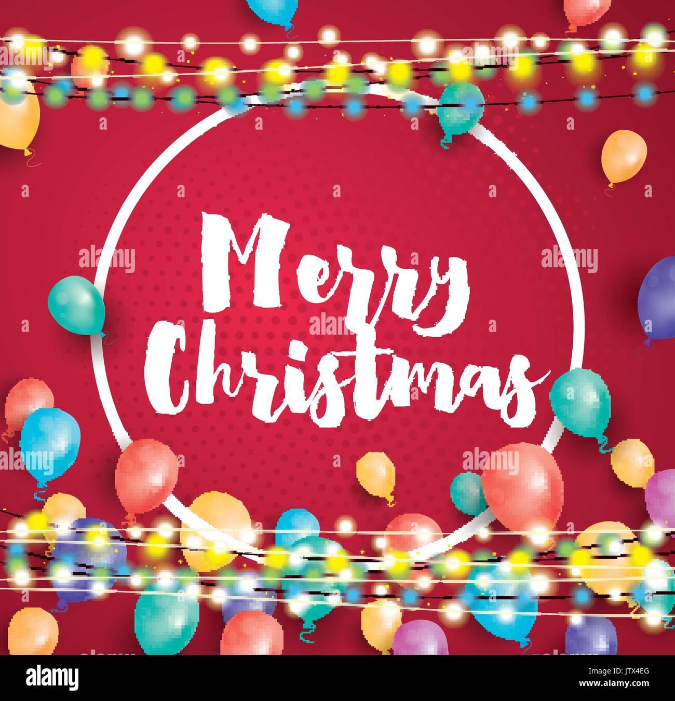 Frohe Weihnachten Grusskarte mit fliegenden Ballons, weißen Rahmen ...
