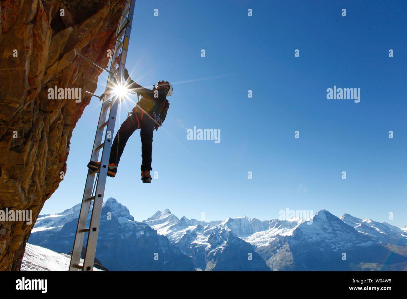 Ein Bergsteiger auf einer Leiter der Klettersteig auf den Gipfel des Schwarzhorn, einem Berg oberhalb Grindelwald in den Schweizer Alpen. Stockbild