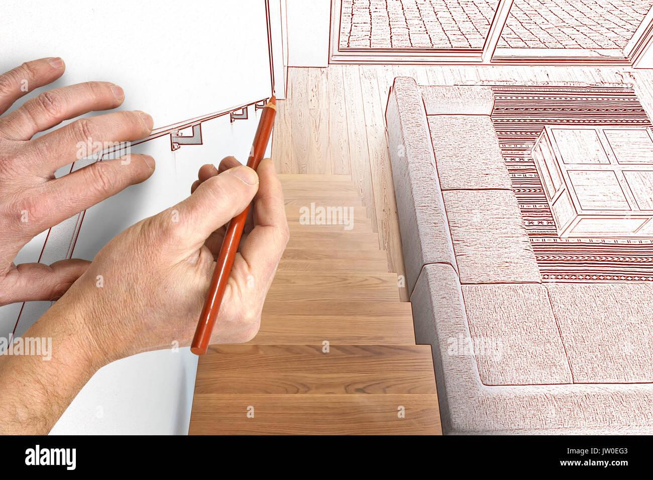 Zeichnung und geplante Hartholz Treppe und Rampe im modern ...
