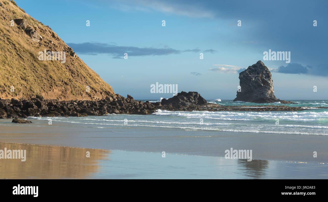 Sandstrand mit Felsen im Meer, Sandfly Bay, Otago, Neuseeland Stockbild