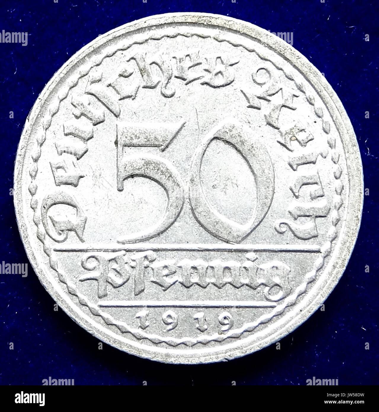 Weimarer Republik 50 Pfg 1919 D Al Münze Vorderseite Stockfoto Bild