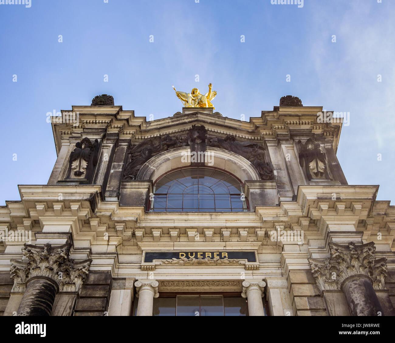 Historische Kunst Akademie Gebäude Gedenken an Albrecht Dürer in Dresden, Deutschland Stockbild