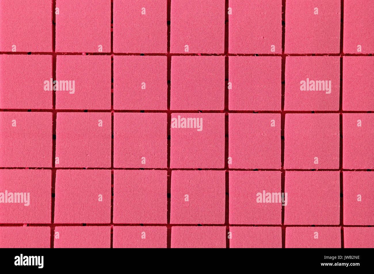 Zusammenfassung Hintergrund rosa Schaum Quadrate in einem Raster Stockbild