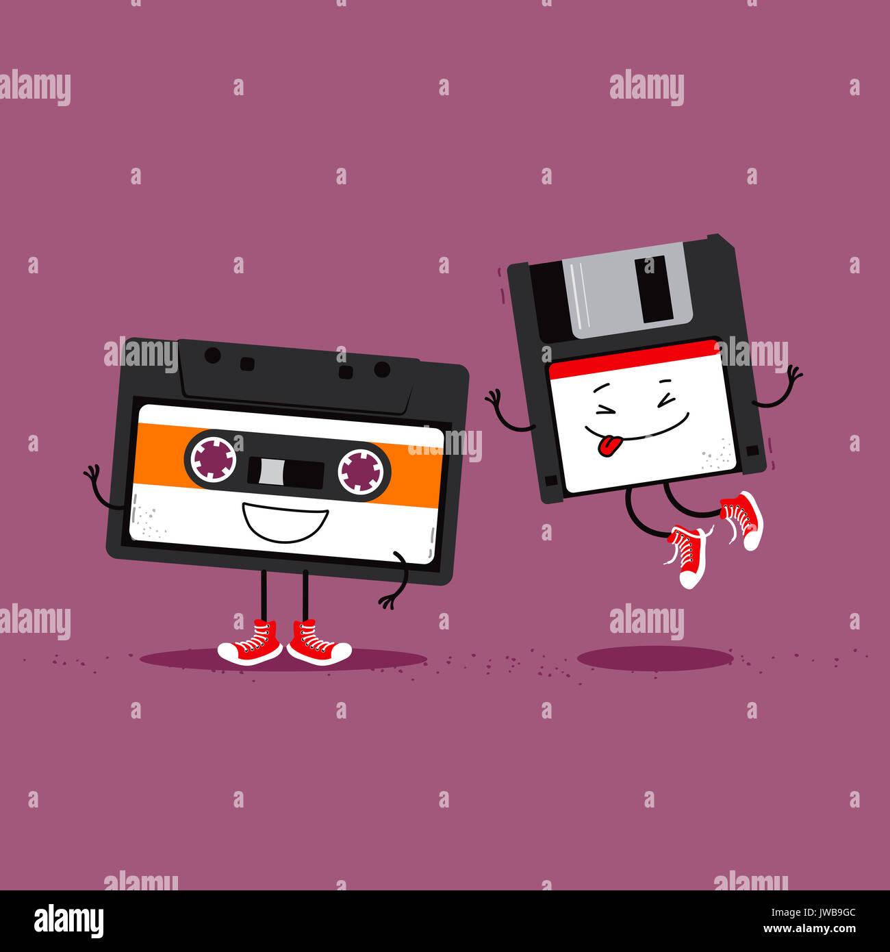 Audio Kassette und Diskette. Lustige Cartoon Illustration über Retro Gadgets von der 80er und 90er Jahre Stockbild