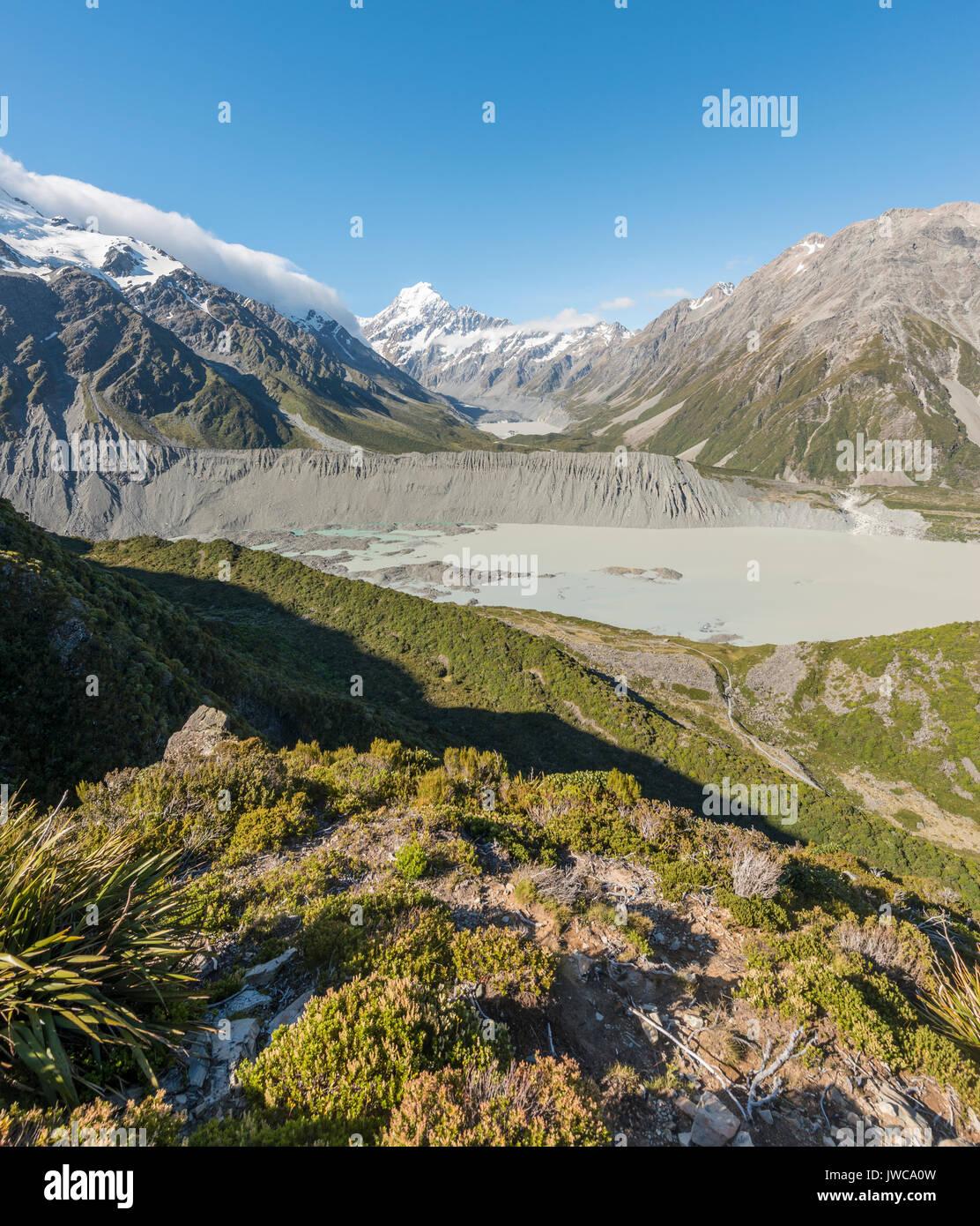 Blick auf Gletscher See Mueller Lake, Mount Cook, Mount Cook Nationalpark, Südliche Alpen, Hooker Valley, Canterbury Stockbild