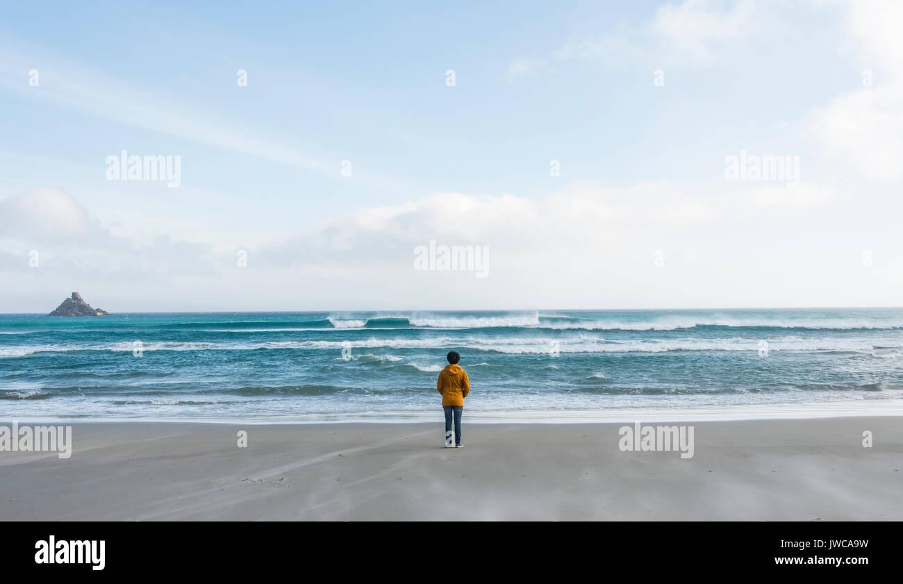 Einsam stehende Person am Meer, mit Blick in die Ferne, Sandfly Bay, Dunedin, Otago, Südinsel, Neuseeland Stockbild