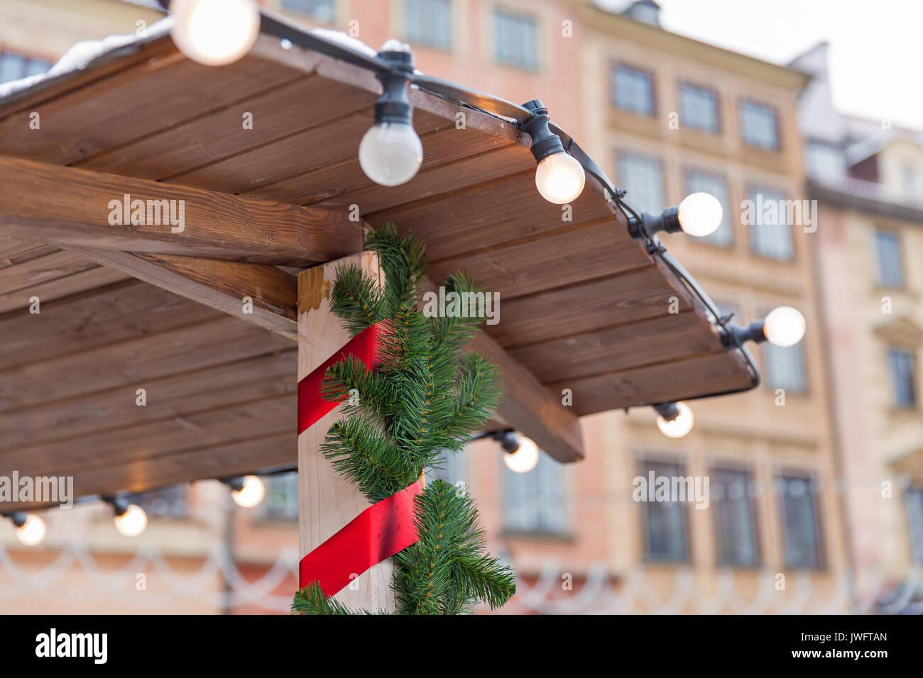 Warsaw Christmas Market Stockfotos Warsaw Christmas