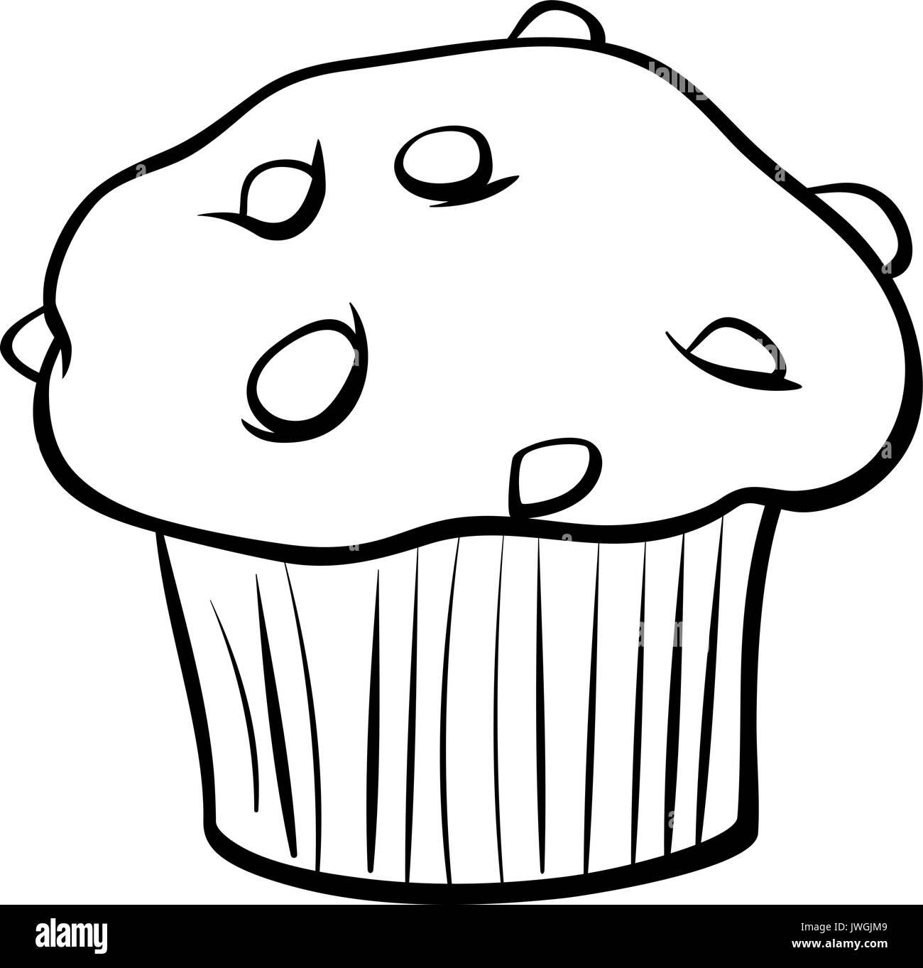 Schwarze Und Weisse Cartoon Illustration Von Sussen Muffins Kuchen Mit