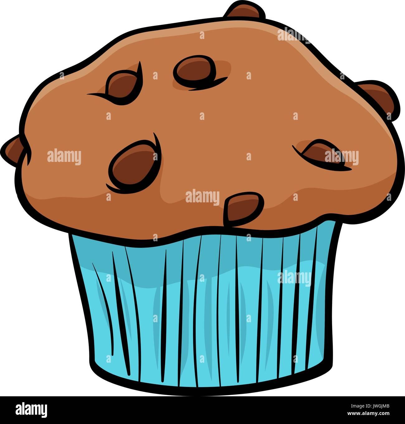 Cartoon Illustration Von Süßen Muffins Kuchen Mit Stücken Von