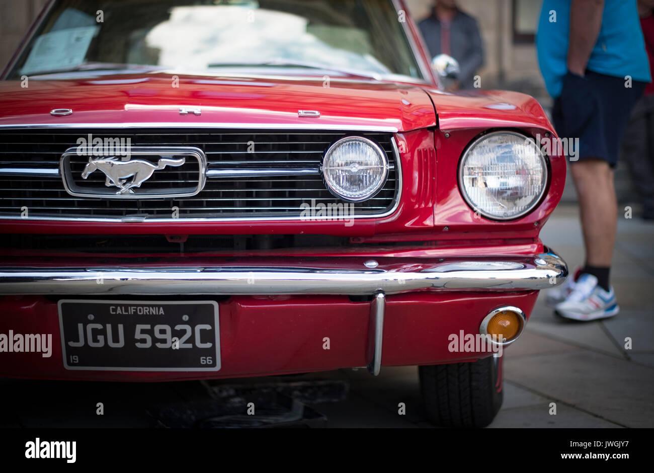 Schöne vintage Rot Ford Mustang an der jährlichen Bradford Classic Car Show im August 2017 Stockbild