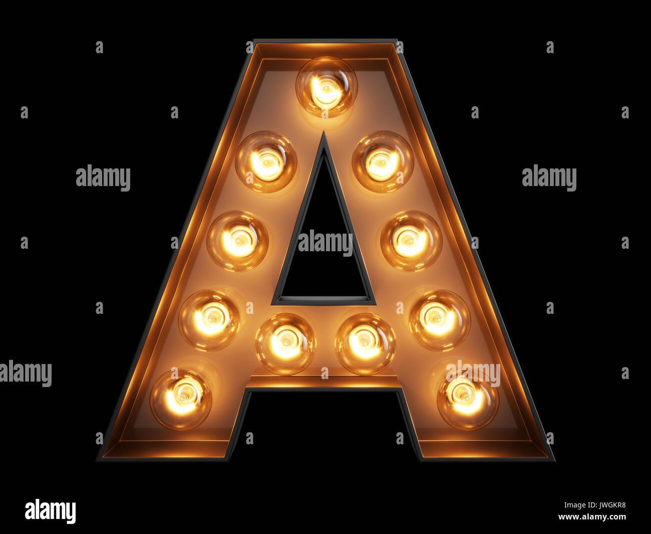 Gluhlampe Leuchtenden Buchstaben Alphabet Zeichen Einer
