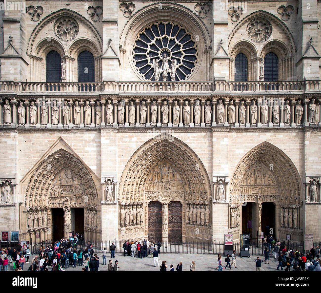 Fassade der Kathedrale Notre Dame, Paris Frankreich Stockbild