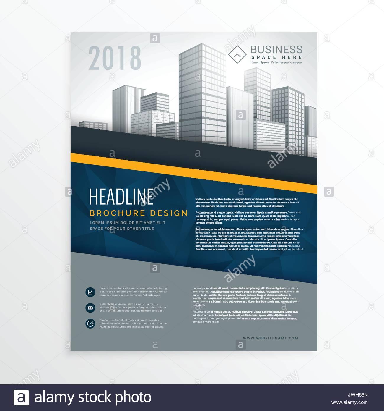 Blau Jahresbericht Broschüre Deckblatt Design Broschüre Vorlage In