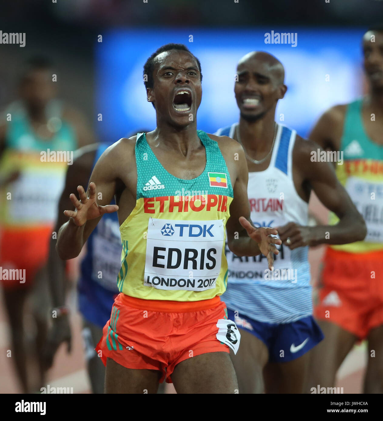 London, Großbritannien. 12 Aug, 2017. Muktar Edris gewinnt 5000m Abschließenden 5000 Meter Final Leichtathletik Stockfoto