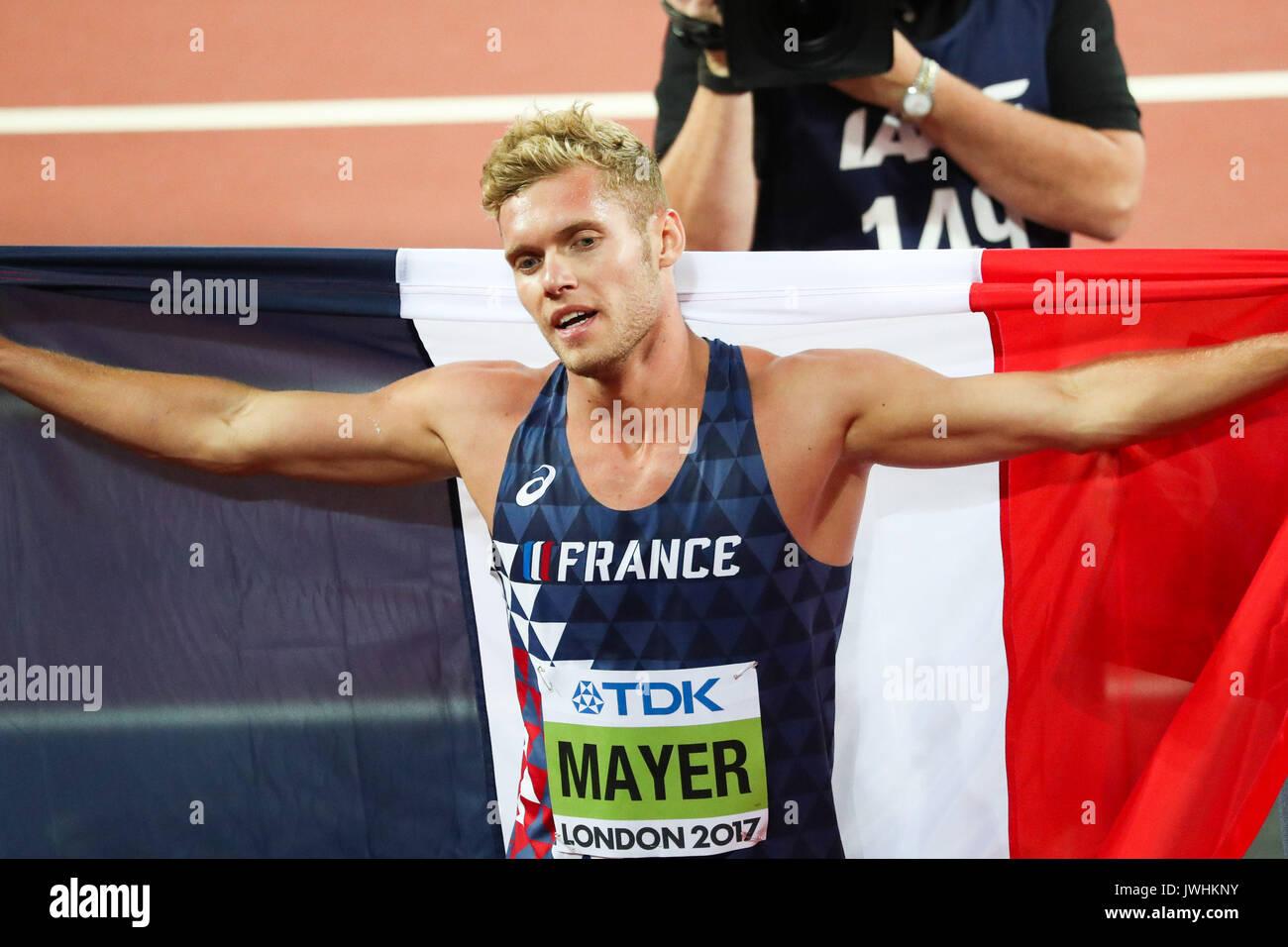 London, Großbritannien. 12 Aug, 2017. Kevin Mayer, Frankreich, feiert das Gewinnen der decathlon am Tag neun der IAAF London 2017 Weltmeisterschaften am London Stadion. Credit: Paul Davey/Alamy leben Nachrichten Stockbild