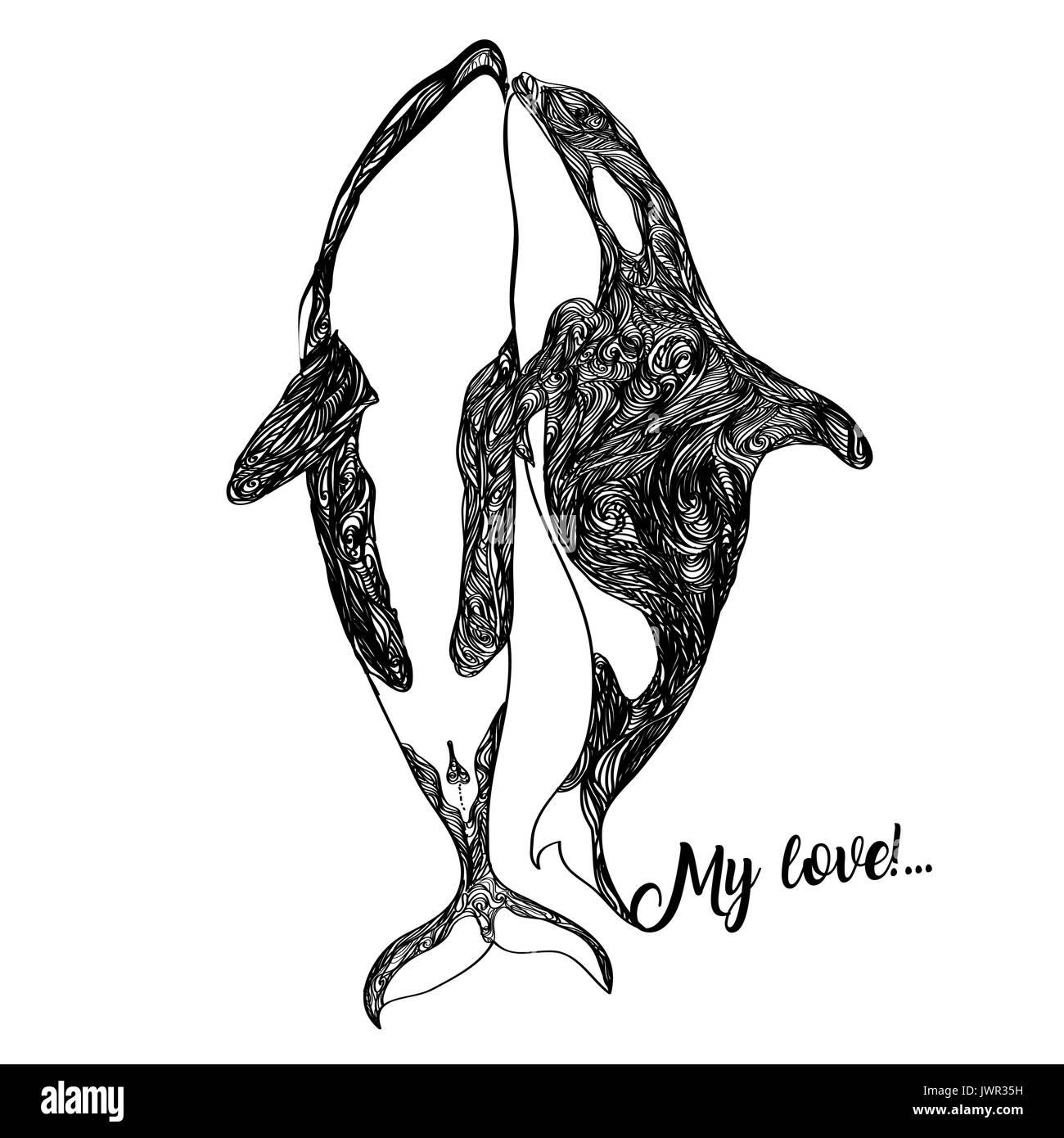 Ethnische Tier Doodle Muster Detail Killer Whale Zentangle