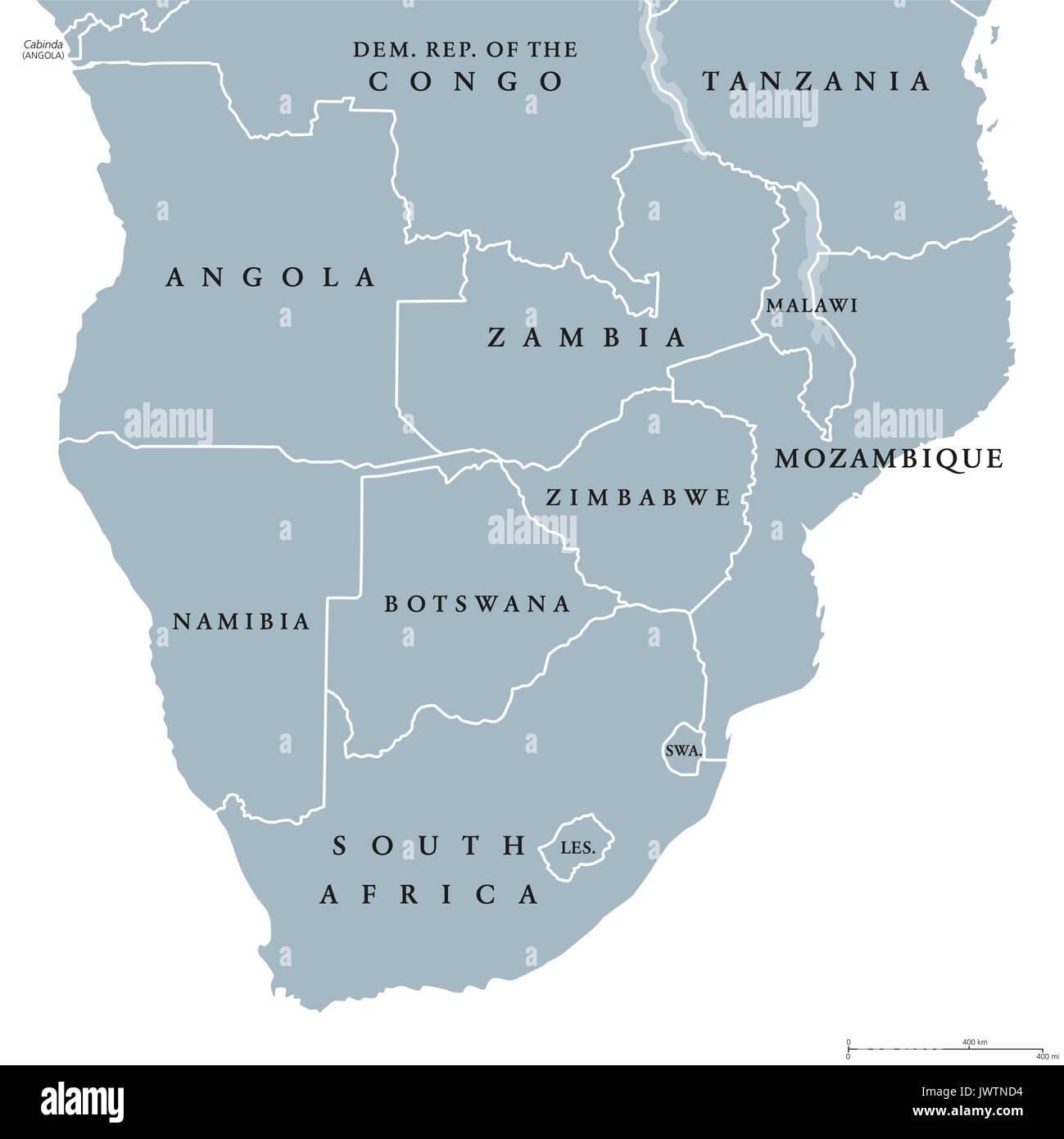Sudliches Afrika Politische Karte Mit Grenzen Der Lander Und Englischer Beschriftung Die Sudlichste Region Des Afrikanischen Kontinents Abbildung Landkarte