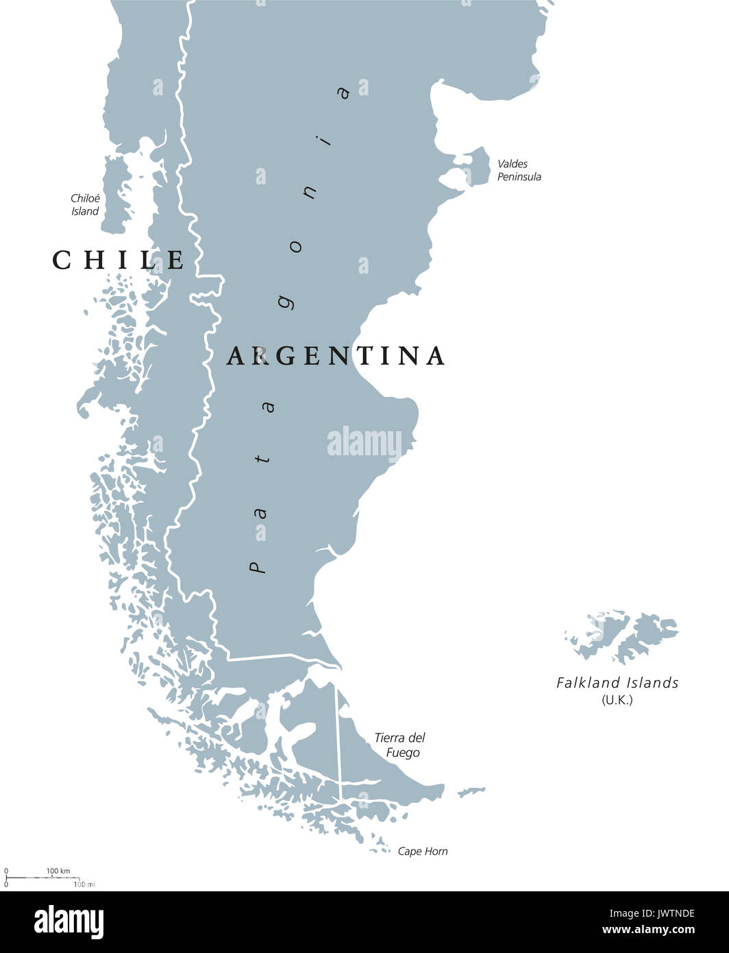 Chile Patagonien Karte.Patagonien Politische Karte Das Sudliche Ende Des