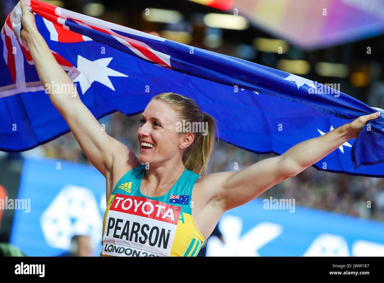 London, Großbritannien. 12 Aug, 2017. Sally Pearson, Australien, Sieger des 100 der Frauen m Hürden Finale am Tag neun der IAAF London 2017 Weltmeisterschaften am London Stadion. Credit: Paul Davey/Alamy leben Nachrichten Stockbild