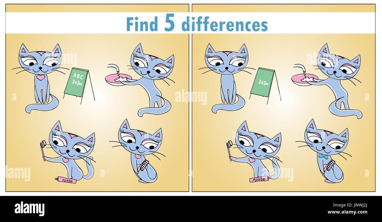 Vier süßen Katzen. Kinder spiel Finden 5 Unterschiede. Vektor Vektor ...