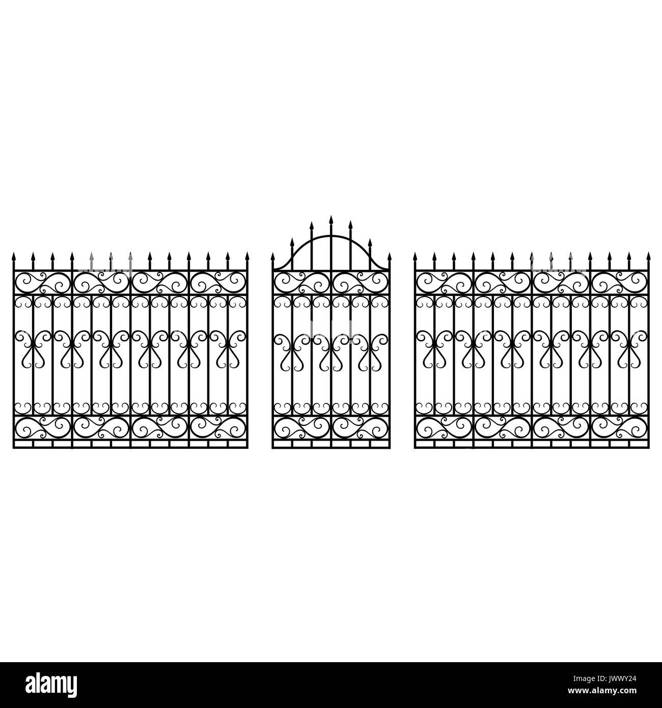 Vector Illustration Schmiedeeisen Modulare Gelander Und Zaun