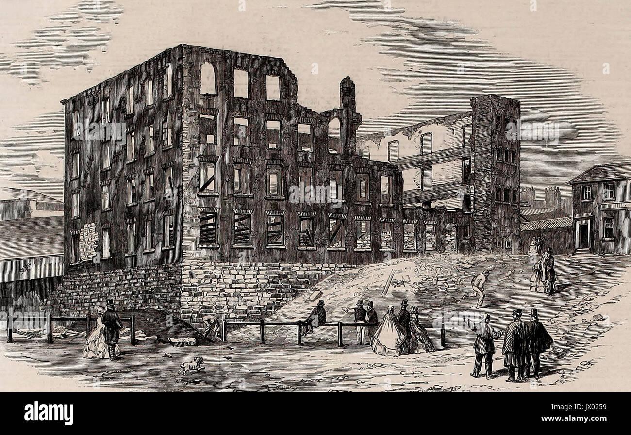Die Ruinen von Swallow Street Fabrik, Blackburn, vor kurzem durch einen Brand zerstört, 1860 Stockbild