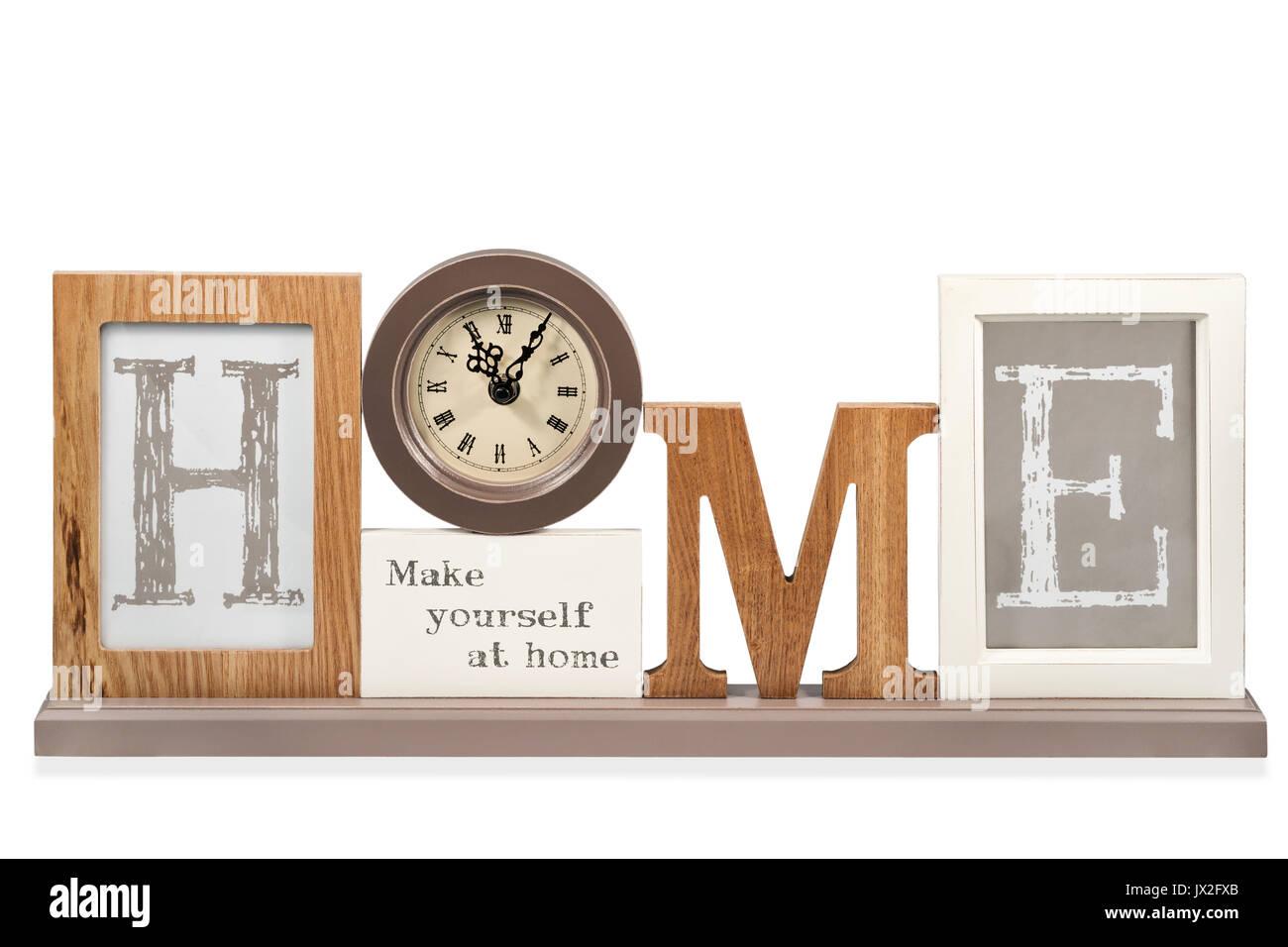 Schönes Zuhause schreiben mit Uhr anstelle von Buchstaben o, auf ...