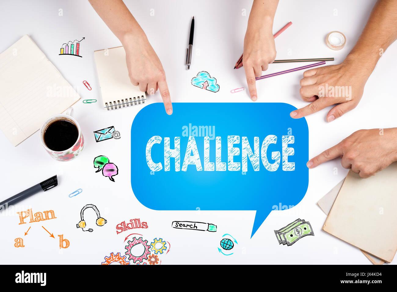 Herausforderung. Die Sitzung, in der weiße Office Tabelle. Stockbild