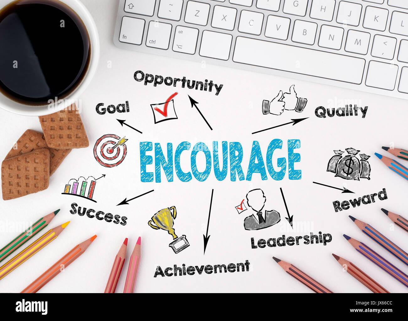 Encourag Konzept. Computer Tastatur auf einem weißen Tisch Stockbild