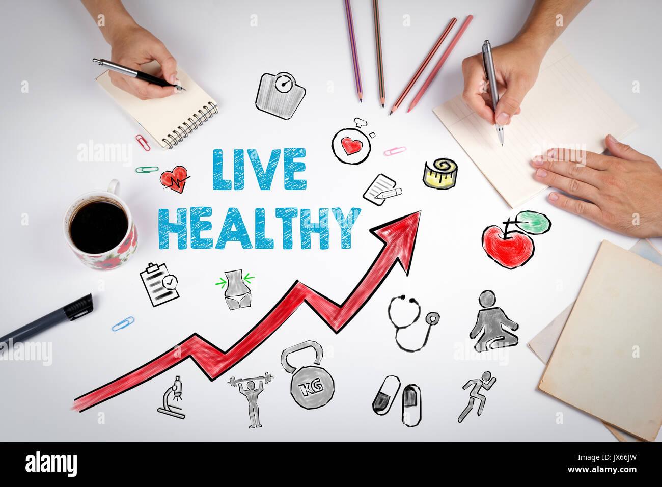 Gesund leben Konzept. Gesunder Lebensstil Hintergrund. Die Sitzung im Weißen office Tabelle. Stockbild