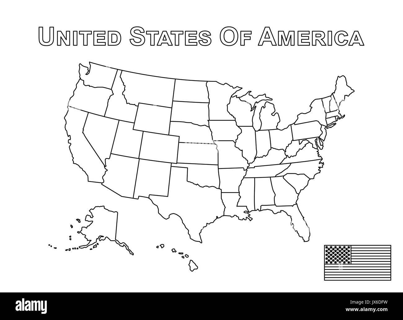 Der Vektor Der Usa Karte Und Die Amerikanische Flagge Umrisse