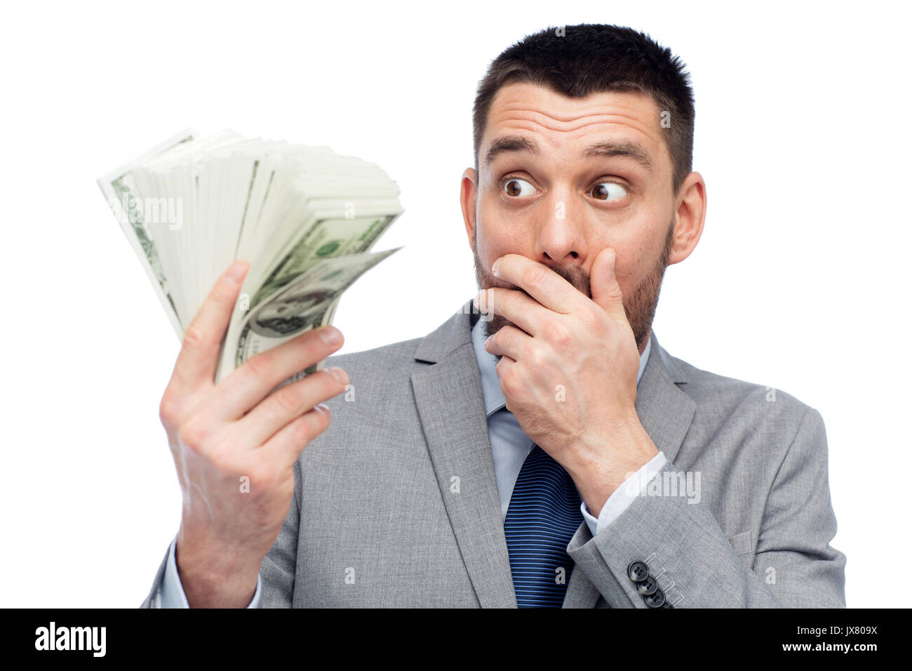 lächelnd Geschäftsmann mit amerikanischen Dollar Geld Stockbild
