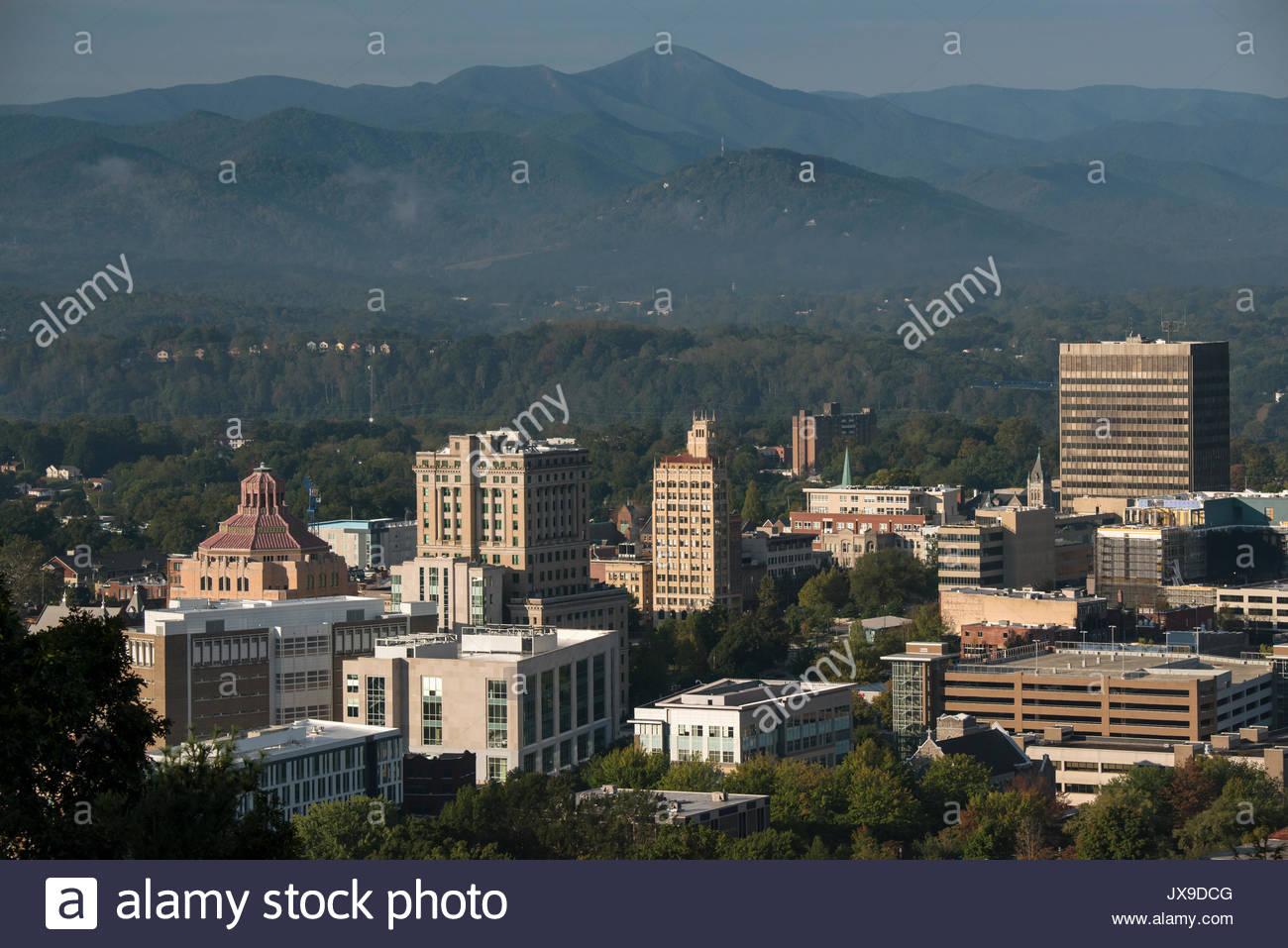 Das Stadtbild der Innenstadt von Asheville, North Carolina. Stockbild